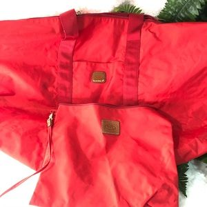 Bric's red duffle bag with detachable pouch